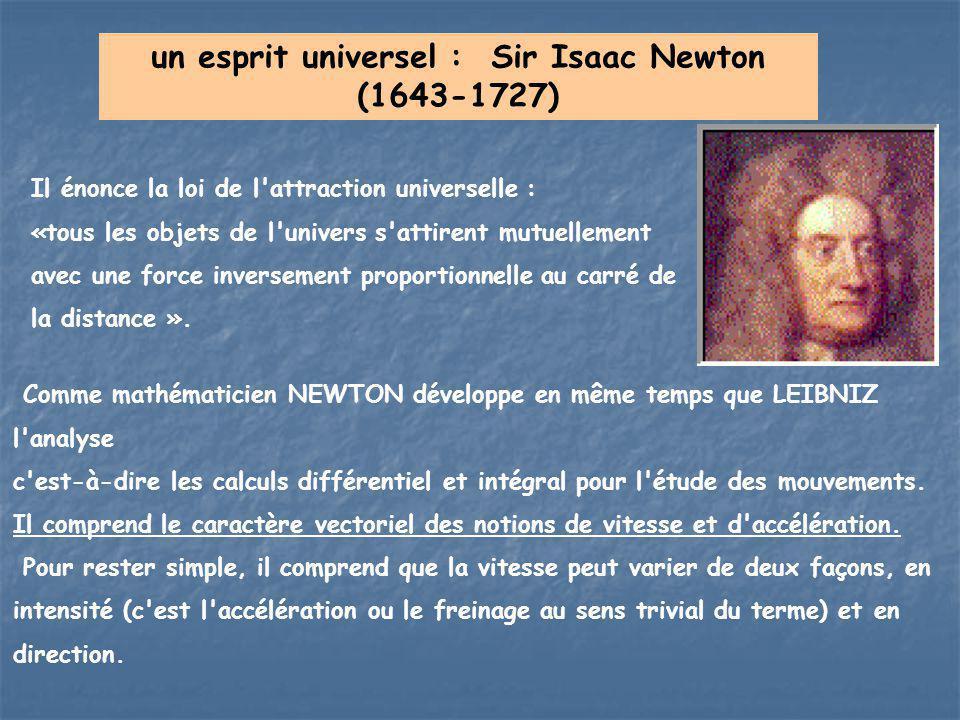un esprit universel : Sir Isaac Newton (1643-1727) Il énonce la loi de l'attraction universelle : «tous les objets de l'univers s'attirent mutuellemen