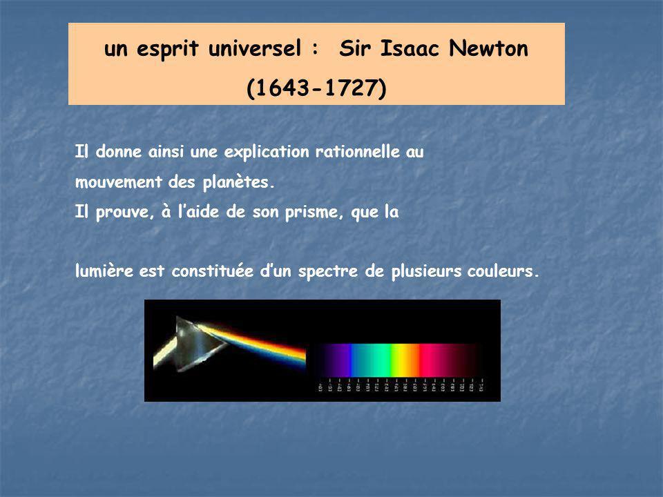un esprit universel : Sir Isaac Newton (1643-1727) Il donne ainsi une explication rationnelle au mouvement des planètes. Il prouve, à l'aide de son pr