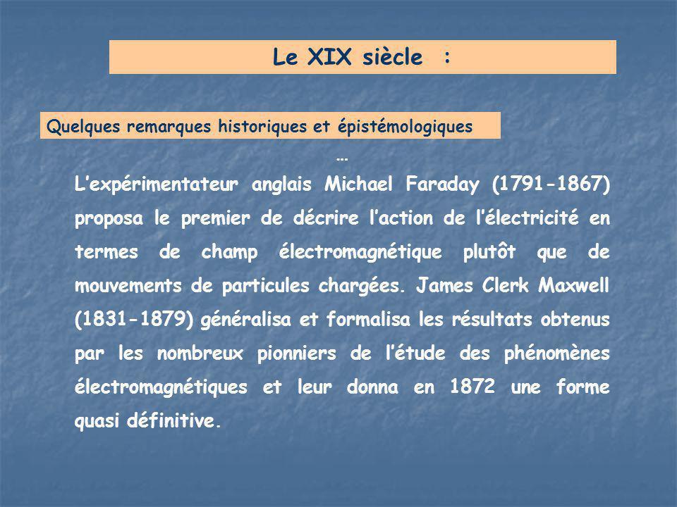 … L'expérimentateur anglais Michael Faraday (1791-1867) proposa le premier de décrire l'action de l'électricité en termes de champ électromagnétique p