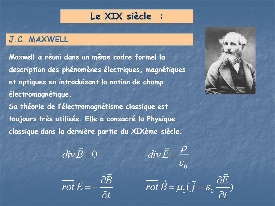 Le XIX siècle : J.C. MAXWELL Maxwell a réuni dans un même cadre formel la description des phénomènes électriques, magnétiques et optiques en introduis