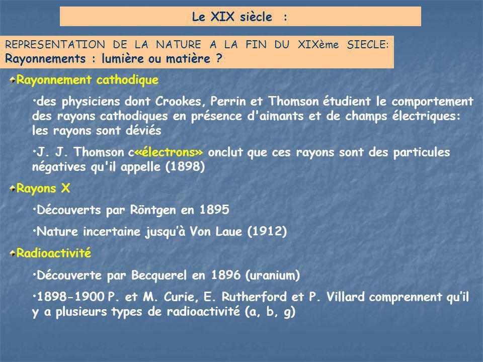 Rayonnement cathodique des physiciens dont Crookes, Perrin et Thomson étudient le comportement des rayons cathodiques en présence d'aimants et de cham