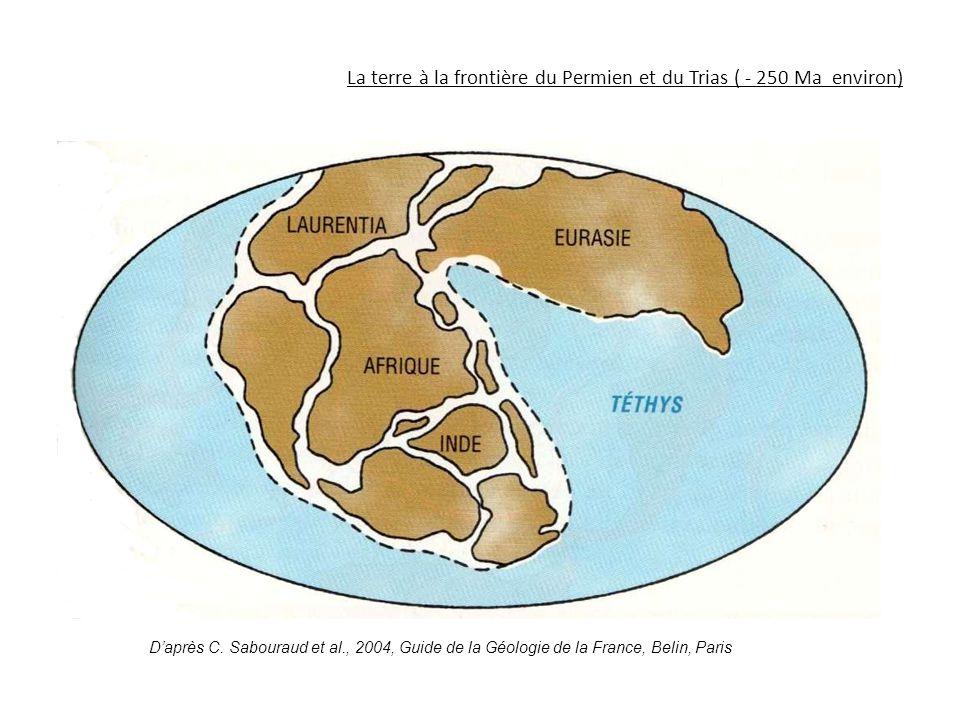La terre à la frontière du Permien et du Trias ( - 250 Ma environ) D'après C. Sabouraud et al., 2004, Guide de la Géologie de la France, Belin, Paris