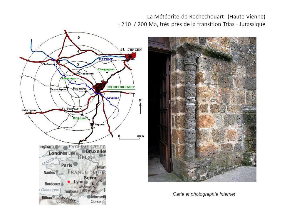 La Météorite de Rochechouart (Haute Vienne) - 210 / 200 Ma, très près de la transition Trias - Jurassique Carte et photographie Internet
