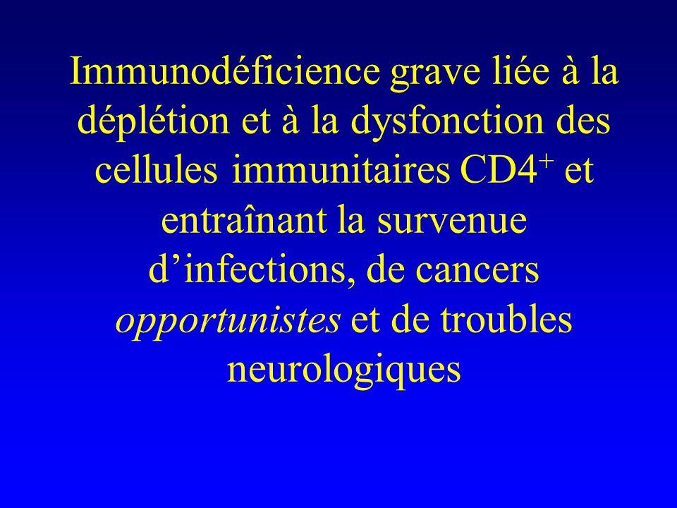 Immunodéficience grave liée à la déplétion et à la dysfonction des cellules immunitaires CD4 + et entraînant la survenue d'infections, de cancers opportunistes et de troubles neurologiques