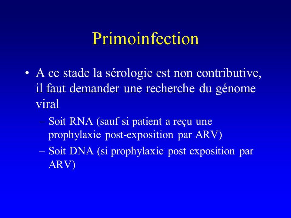 Primoinfection A ce stade la sérologie est non contributive, il faut demander une recherche du génome viral –Soit RNA (sauf si patient a reçu une prophylaxie post-exposition par ARV) –Soit DNA (si prophylaxie post exposition par ARV)