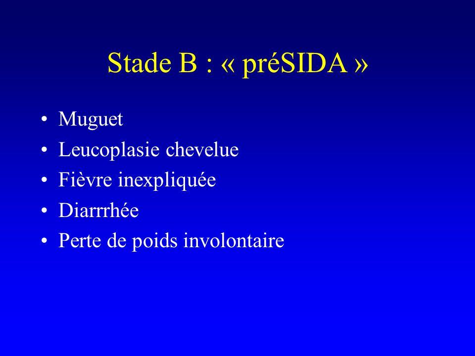 Stade B : « préSIDA » Muguet Leucoplasie chevelue Fièvre inexpliquée Diarrrhée Perte de poids involontaire