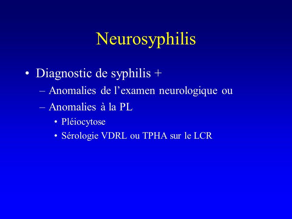 Neurosyphilis Diagnostic de syphilis + –Anomalies de l'examen neurologique ou –Anomalies à la PL Pléiocytose Sérologie VDRL ou TPHA sur le LCR