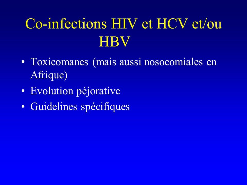 Co-infections HIV et HCV et/ou HBV Toxicomanes (mais aussi nosocomiales en Afrique) Evolution péjorative Guidelines spécifiques