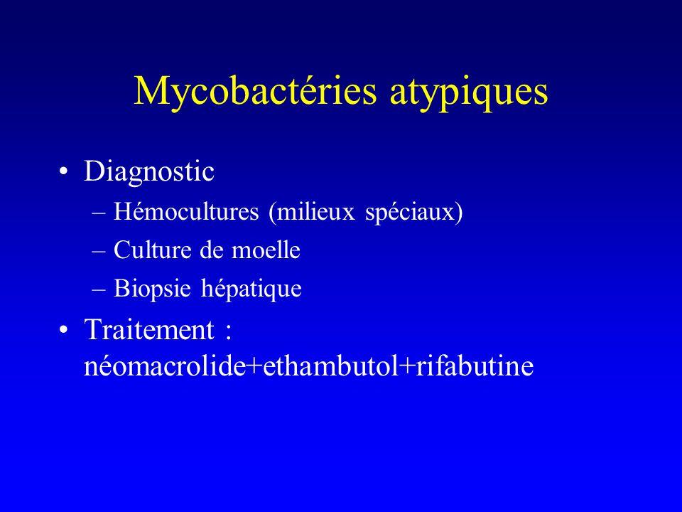 Mycobactéries atypiques Diagnostic –Hémocultures (milieux spéciaux) –Culture de moelle –Biopsie hépatique Traitement : néomacrolide+ethambutol+rifabutine