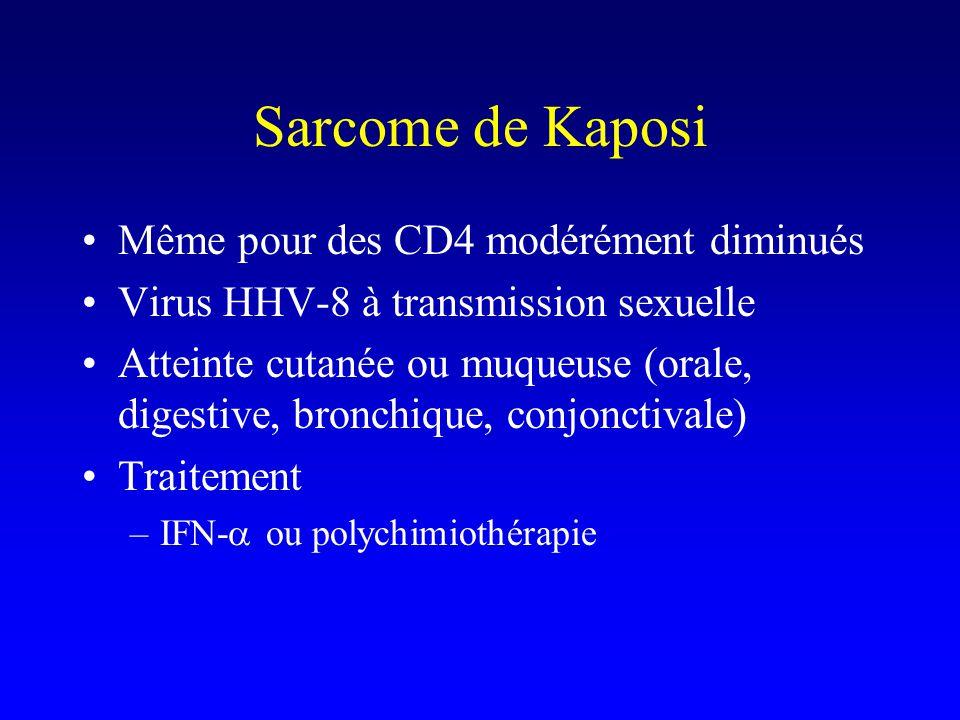 Sarcome de Kaposi Même pour des CD4 modérément diminués Virus HHV-8 à transmission sexuelle Atteinte cutanée ou muqueuse (orale, digestive, bronchique, conjonctivale) Traitement –IFN-  ou polychimiothérapie