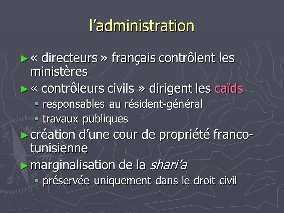 l'administration ► « directeurs » français contrôlent les ministères ► « contrôleurs civils » dirigent les caïds  responsables au résident-général 
