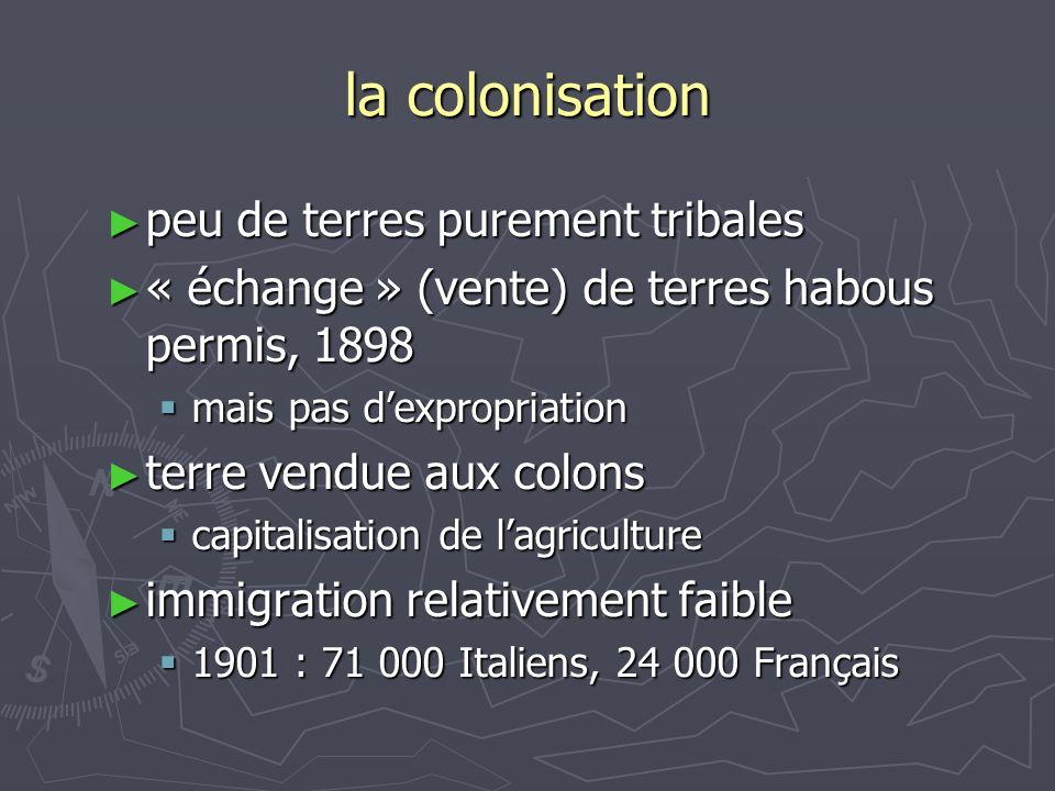 la colonisation ► peu de terres purement tribales ► « échange » (vente) de terres habous permis, 1898  mais pas d'expropriation ► terre vendue aux co