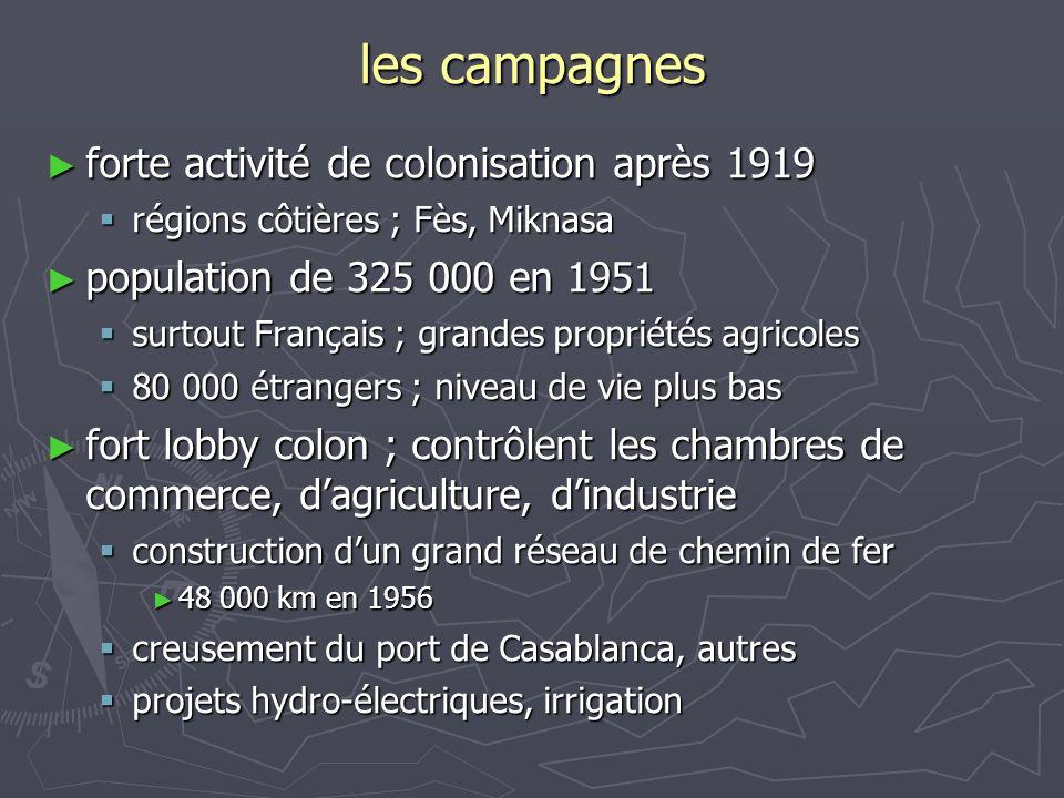 les campagnes ► forte activité de colonisation après 1919  régions côtières ; Fès, Miknasa ► population de 325 000 en 1951  surtout Français ; grand
