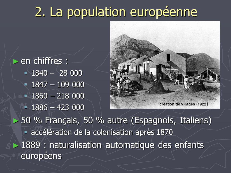 2. La population européenne ► en chiffres :  1840 – 28 000  1847 – 109 000  1860 – 218 000  1886 – 423 000 ► 50 % Français, 50 % autre (Espagnols,