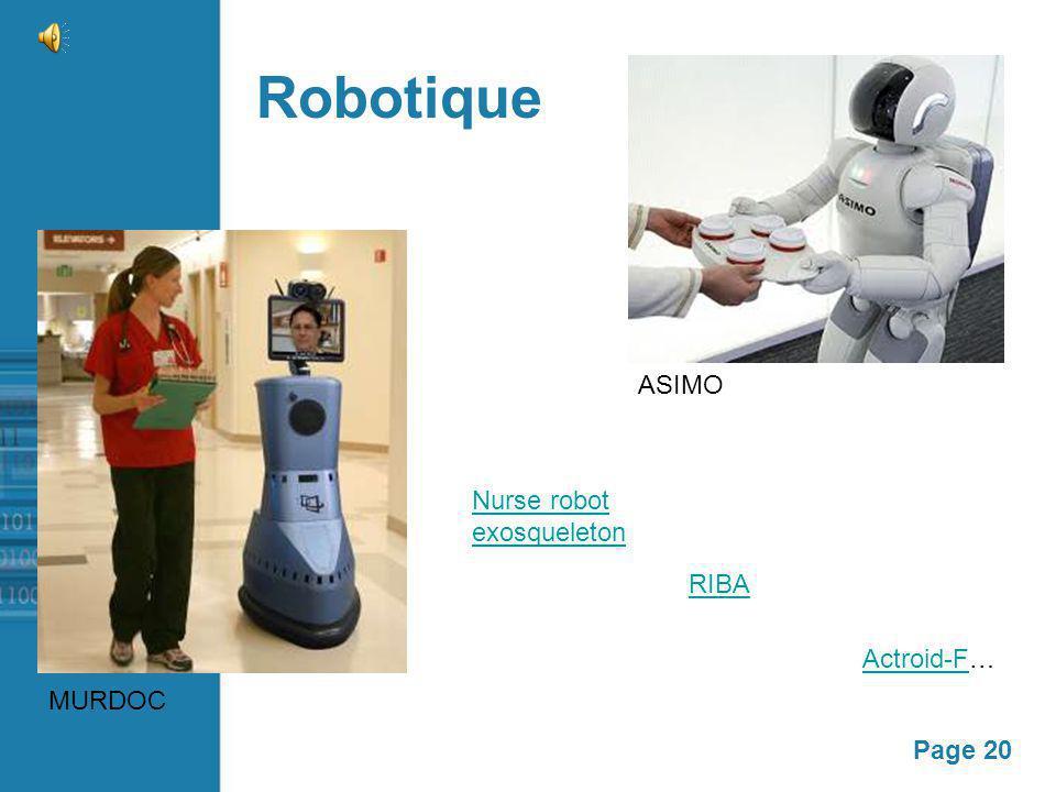 Page 20 Robotique MURDOC Actroid-FActroid-F… Nurse robot exosqueleton RIBA ASIMO