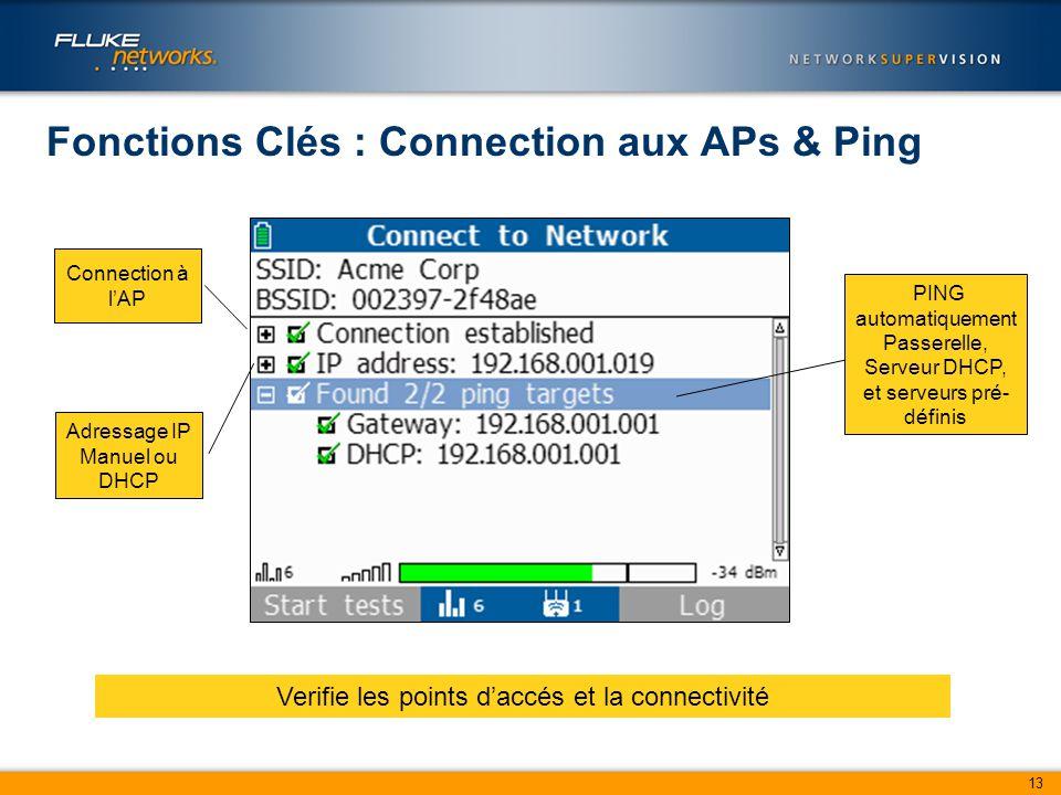 13 Fonctions Clés : Connection aux APs & Ping Verifie les points d'accés et la connectivité Connection à l'AP Adressage IP Manuel ou DHCP PING automatiquement Passerelle, Serveur DHCP, et serveurs pré- définis