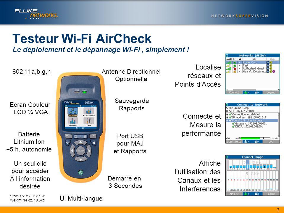 7 Testeur Wi-Fi AirCheck Le déploiement et le dépannage Wi-Fi, simplement .