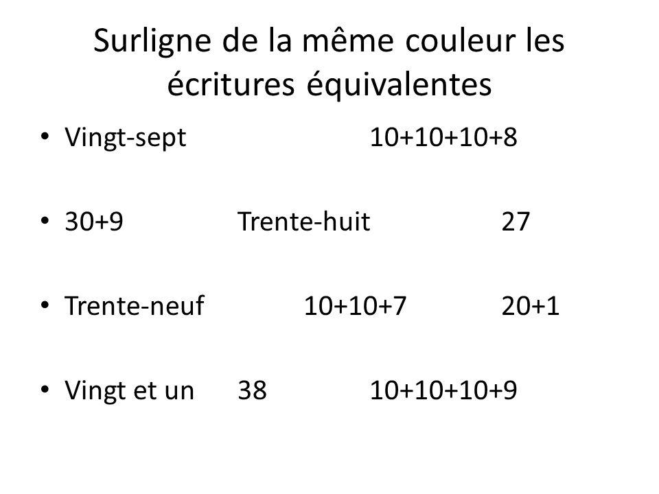 Surligne de la même couleur les écritures équivalentes Vingt-sept10+10+10+8 30+9Trente-huit27 Trente-neuf10+10+720+1 Vingt et un3810+10+10+9
