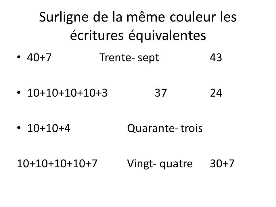 Surligne de la même couleur les écritures équivalentes 40+7Trente- sept43 10+10+10+10+33724 10+10+4Quarante- trois 10+10+10+10+7Vingt- quatre30+7