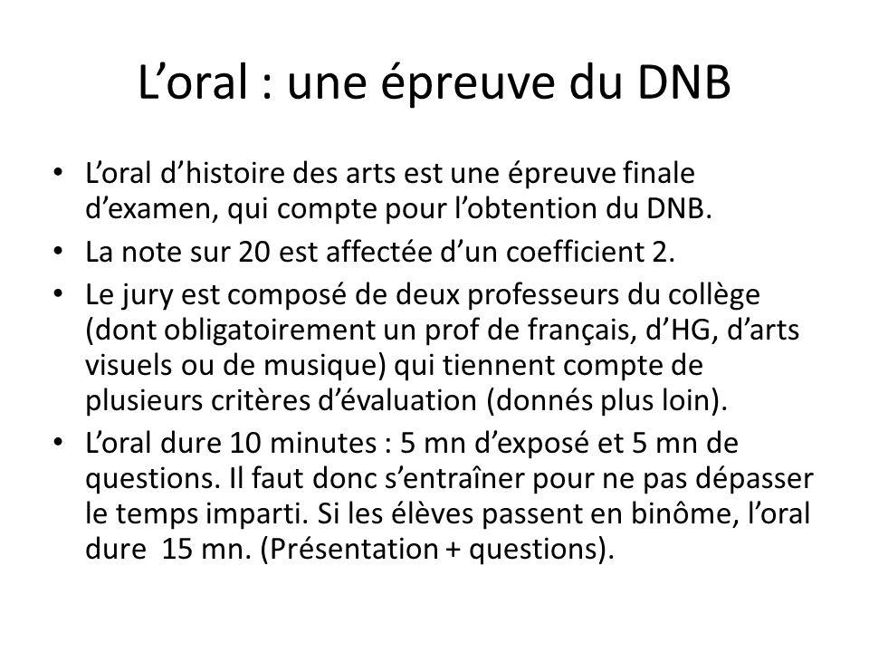 L'oral : une épreuve du DNB L'oral d'histoire des arts est une épreuve finale d'examen, qui compte pour l'obtention du DNB. La note sur 20 est affecté