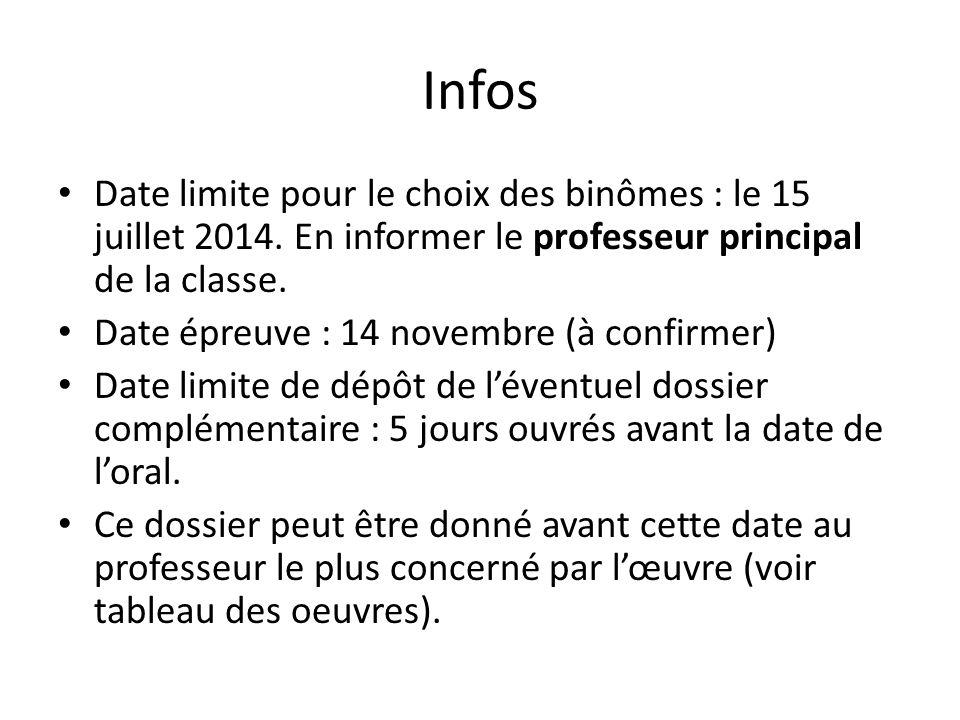 Infos Date limite pour le choix des binômes : le 15 juillet 2014. En informer le professeur principal de la classe. Date épreuve : 14 novembre (à conf