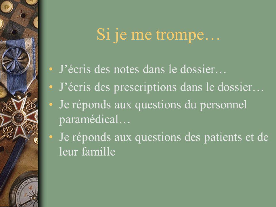 Si je me trompe… J'écris des notes dans le dossier… J'écris des prescriptions dans le dossier… Je réponds aux questions du personnel paramédical… Je r