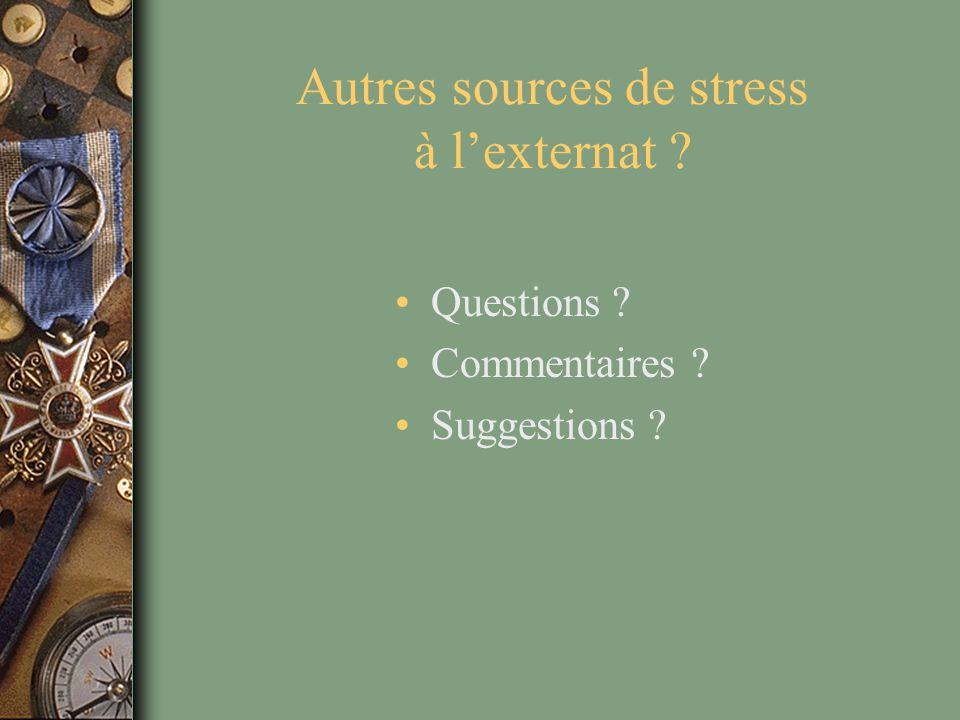 Autres sources de stress à l'externat ? Questions ? Commentaires ? Suggestions ?