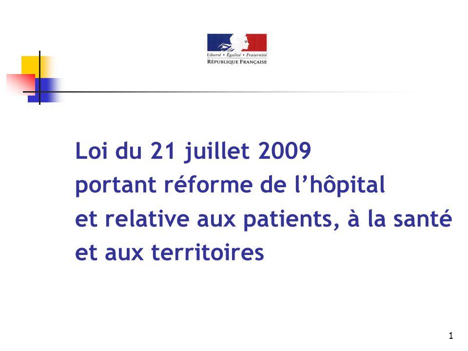1 Loi du 21 juillet 2009 portant réforme de l'hôpital et relative aux patients, à la santé et aux territoires