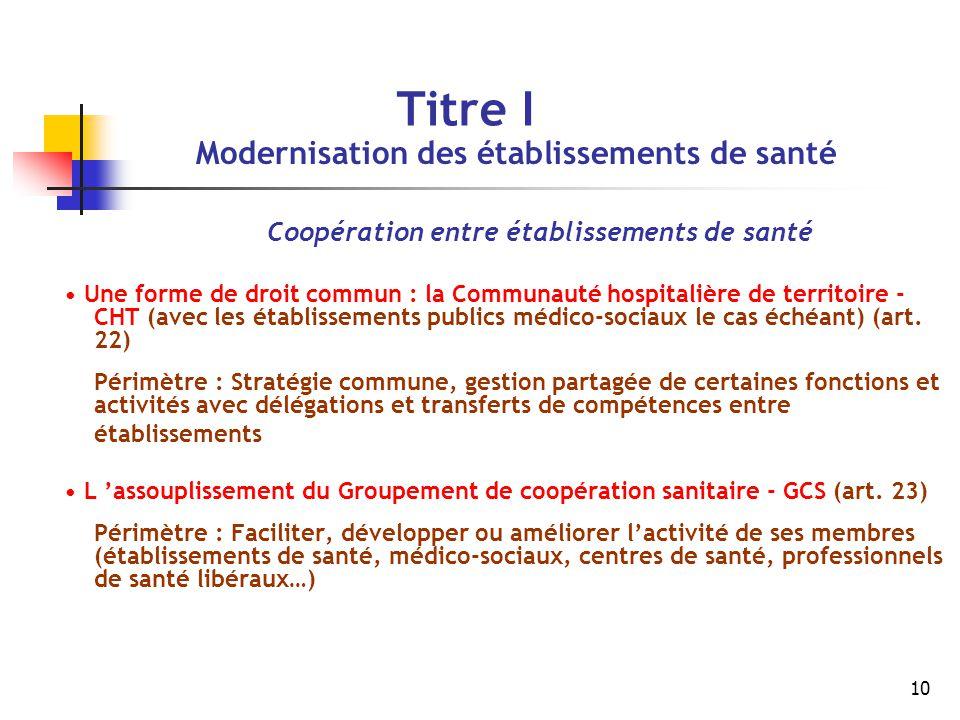 10 Titre I Modernisation des établissements de santé Coopération entre établissements de santé Une forme de droit commun : la Communauté hospitalière