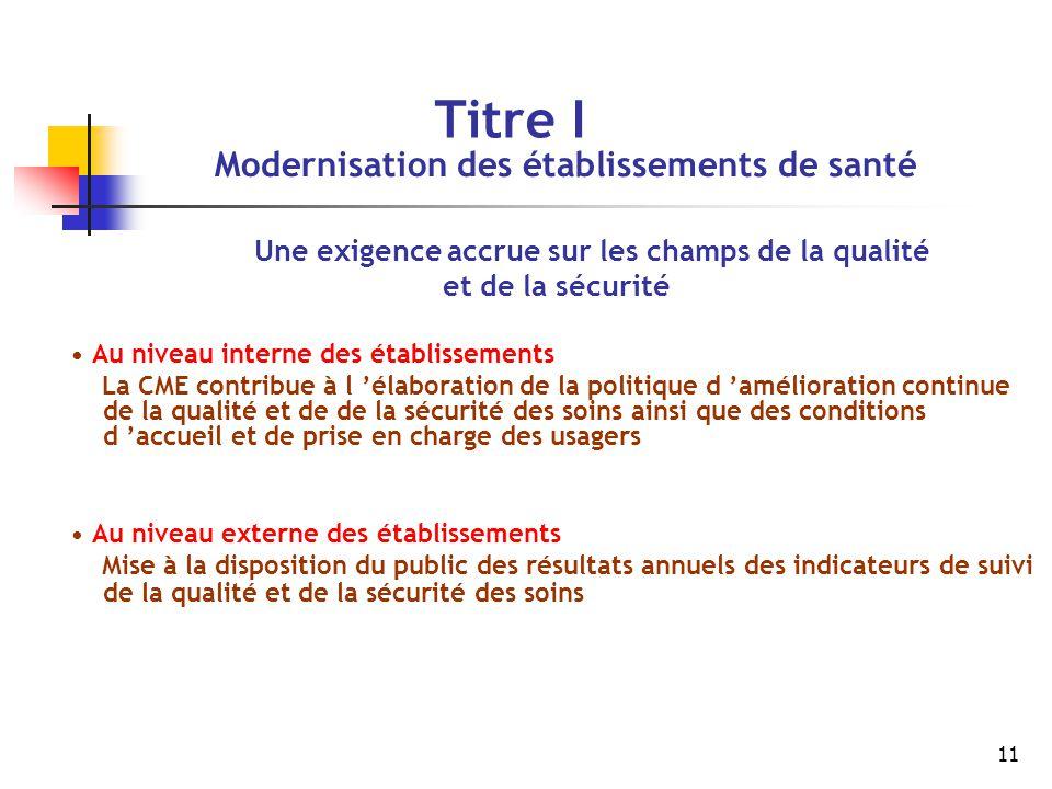 11 Titre I Modernisation des établissements de santé Une exigence accrue sur les champs de la qualité et de la sécurité Au niveau interne des établiss