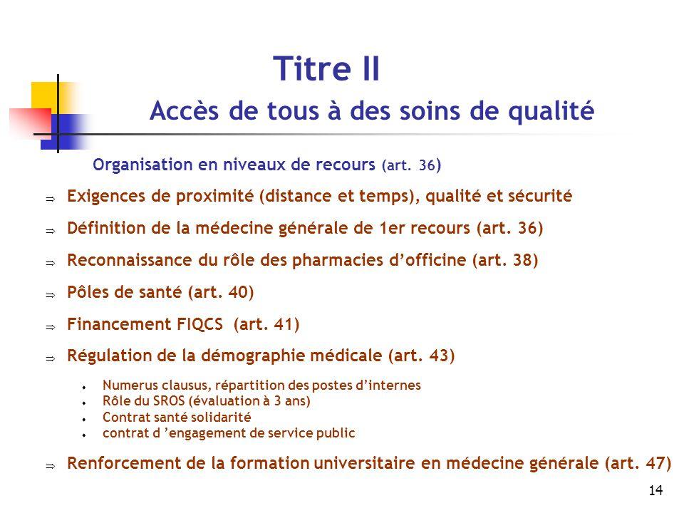 14 Titre II Accès de tous à des soins de qualité Organisation en niveaux de recours (art. 36 )  Exigences de proximité (distance et temps), qualité e