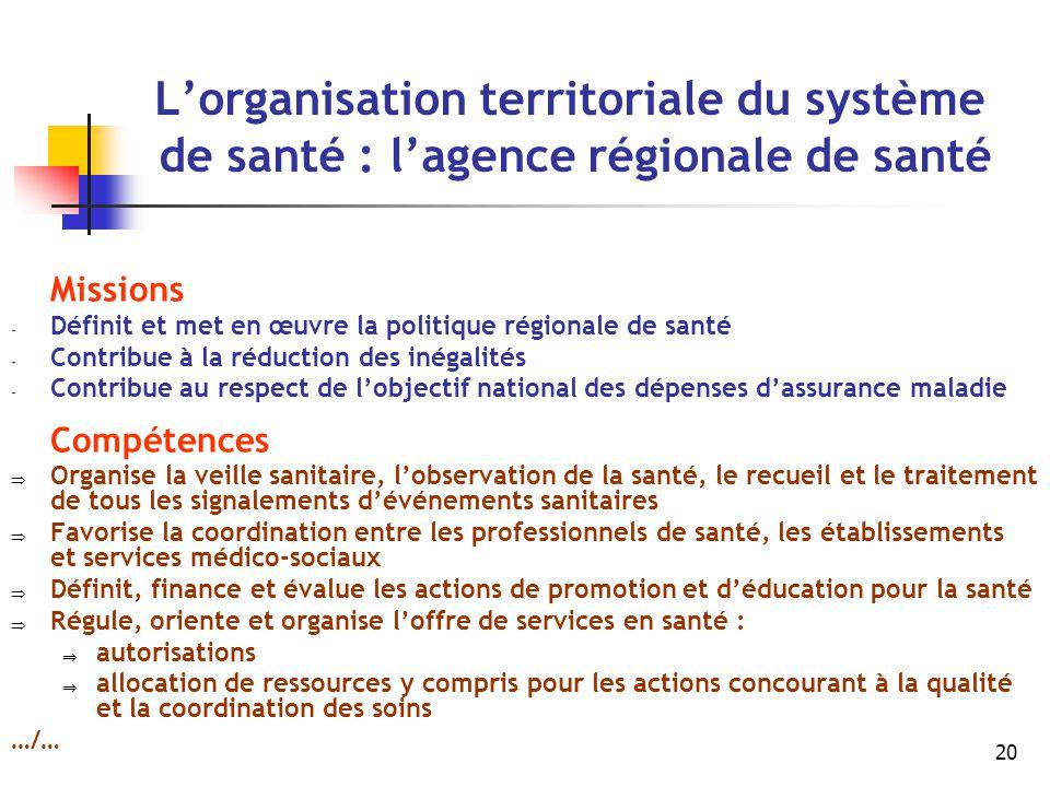 20 L'organisation territoriale du système de santé : l'agence régionale de santé Missions - Définit et met en œuvre la politique régionale de santé -