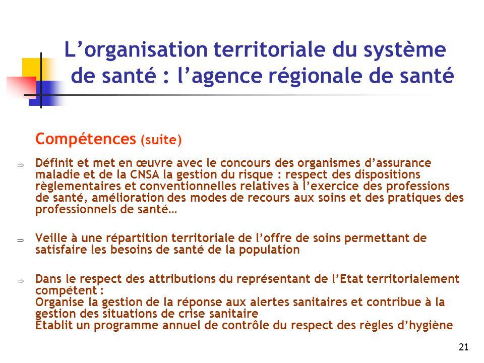 21 L'organisation territoriale du système de santé : l'agence régionale de santé Compétences (suite)  Définit et met en œuvre avec le concours des or