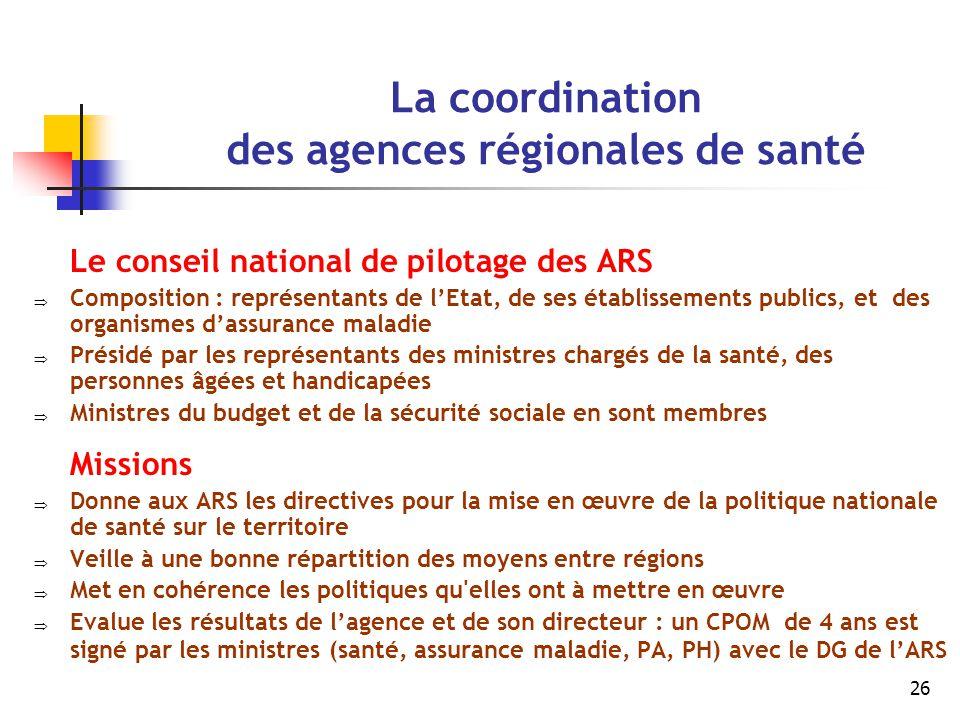 26 La coordination des agences régionales de santé Le conseil national de pilotage des ARS  Composition : représentants de l'Etat, de ses établisseme