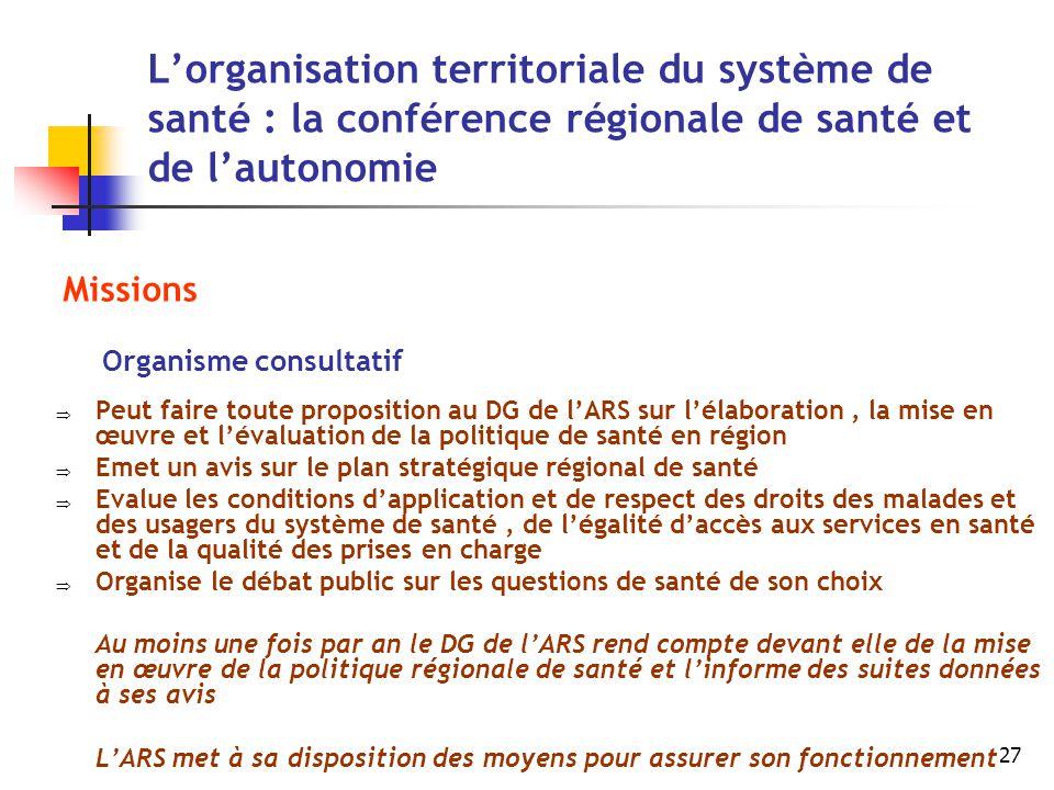 27 L'organisation territoriale du système de santé : la conférence régionale de santé et de l'autonomie Missions Organisme consultatif  Peut faire to