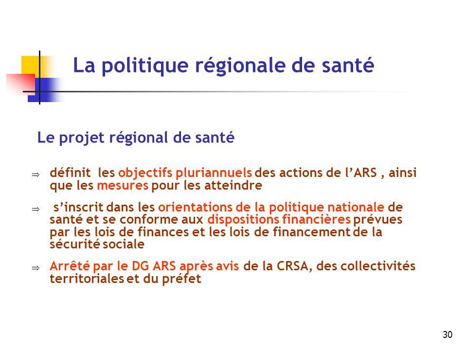 30 La politique régionale de santé Le projet régional de santé  définit les objectifs pluriannuels des actions de l'ARS, ainsi que les mesures pour l