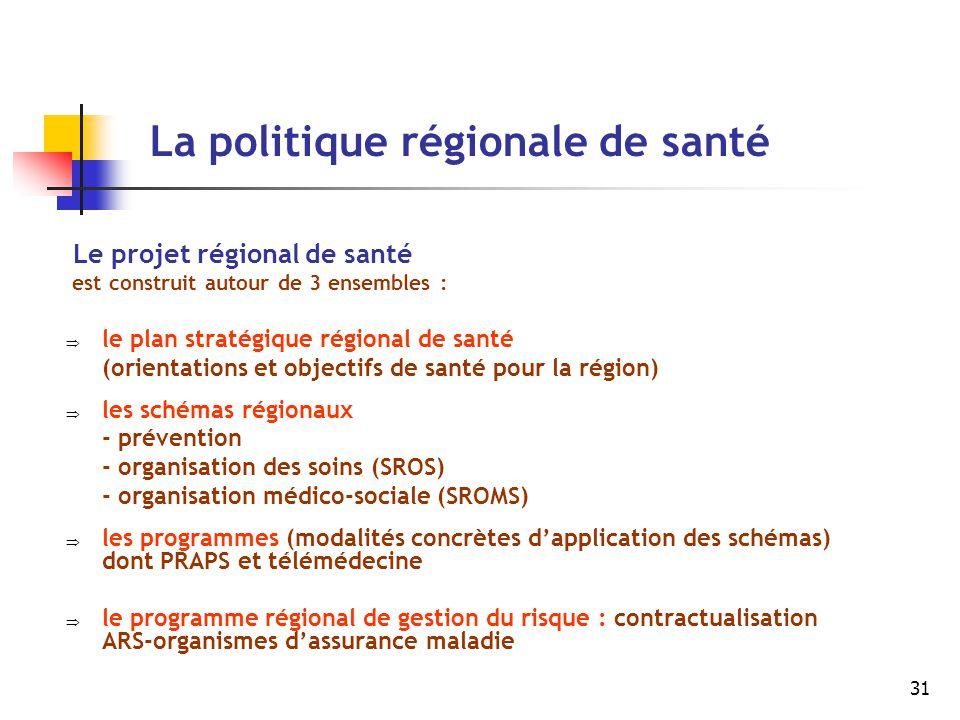 31 La politique régionale de santé Le projet régional de santé est construit autour de 3 ensembles :  le plan stratégique régional de santé (orientat