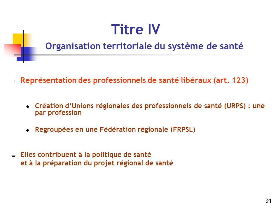 34 Titre IV Organisation territoriale du système de santé  Représentation des professionnels de santé libéraux (art. 123)  Création d'Unions régiona
