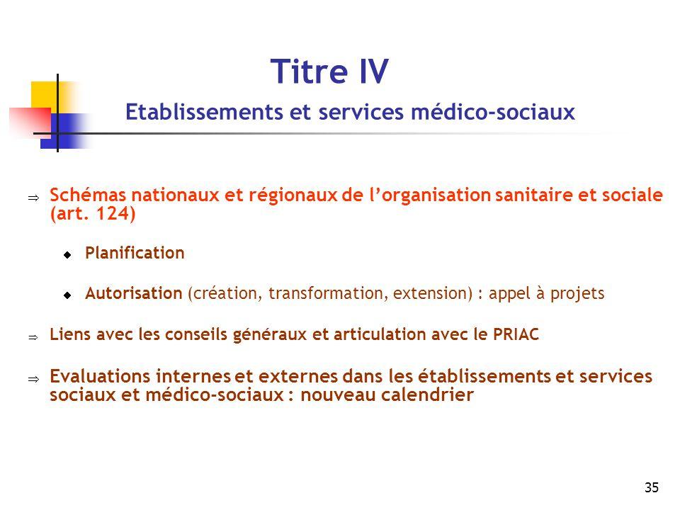 35 Titre IV Etablissements et services médico-sociaux  Schémas nationaux et régionaux de l'organisation sanitaire et sociale (art. 124)  Planificati