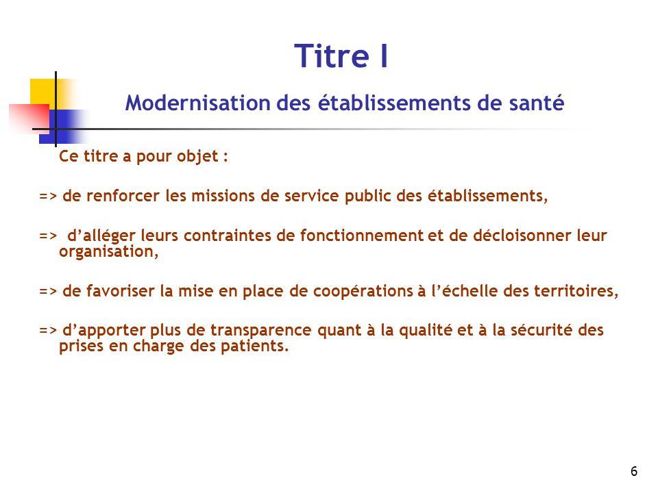 6 Titre I Modernisation des établissements de santé Ce titre a pour objet : => de renforcer les missions de service public des établissements, => d'al