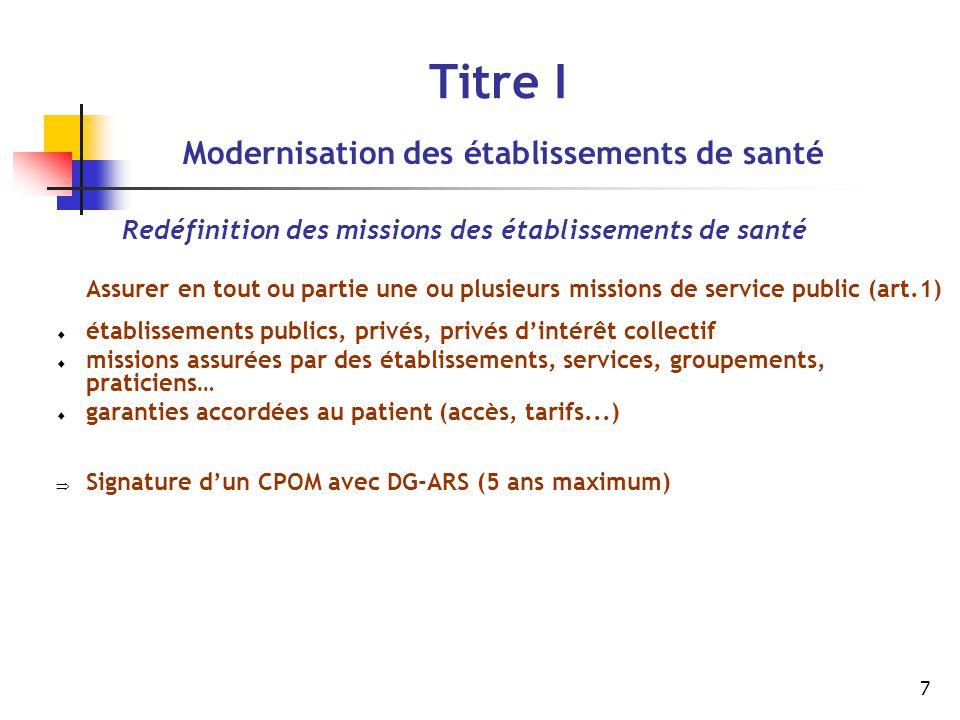 7 Titre I Modernisation des établissements de santé Redéfinition des missions des établissements de santé Assurer en tout ou partie une ou plusieurs m