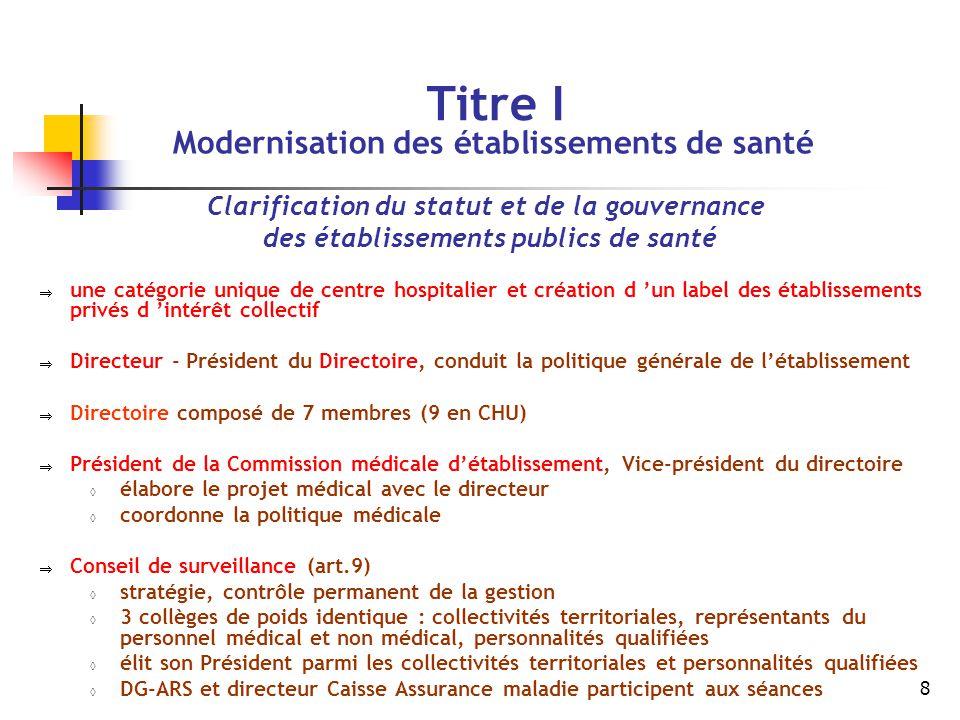 8 Titre I Modernisation des établissements de santé Clarification du statut et de la gouvernance des établissements publics de santé  une catégorie u