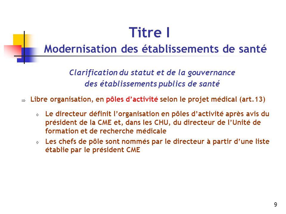 9 Titre I Modernisation des établissements de santé Clarification du statut et de la gouvernance des établissements publics de santé  Libre organisat