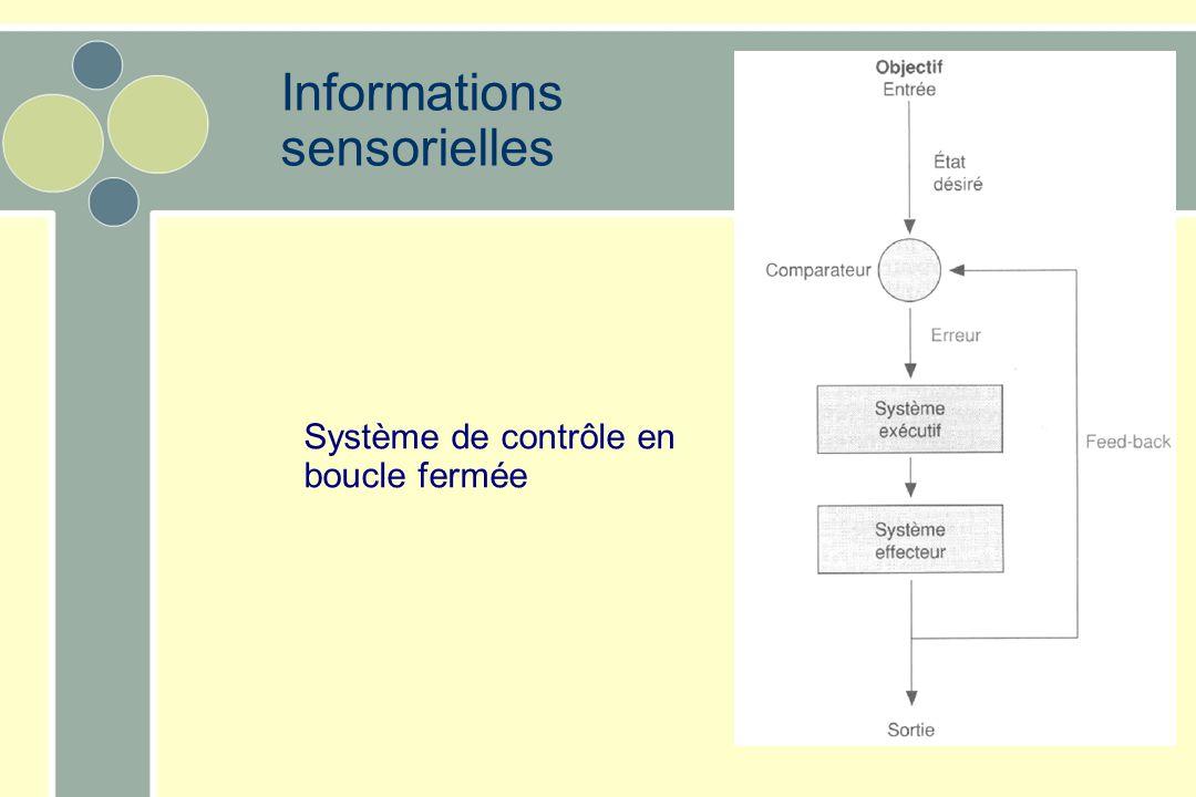 Informations sensorielles Système de contrôle en boucle fermée