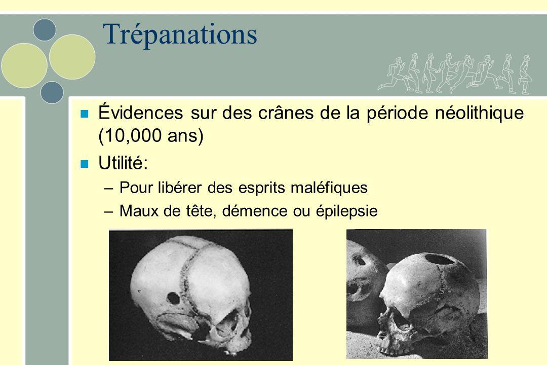 Trépanations n Évidences sur des crânes de la période néolithique (10,000 ans) n Utilité: –Pour libérer des esprits maléfiques –Maux de tête, démence ou épilepsie