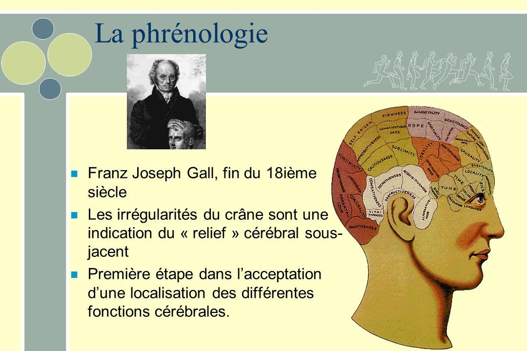 La phrénologie n Franz Joseph Gall, fin du 18ième siècle n Les irrégularités du crâne sont une indication du « relief » cérébral sous- jacent n Première étape dans l'acceptation d'une localisation des différentes fonctions cérébrales.