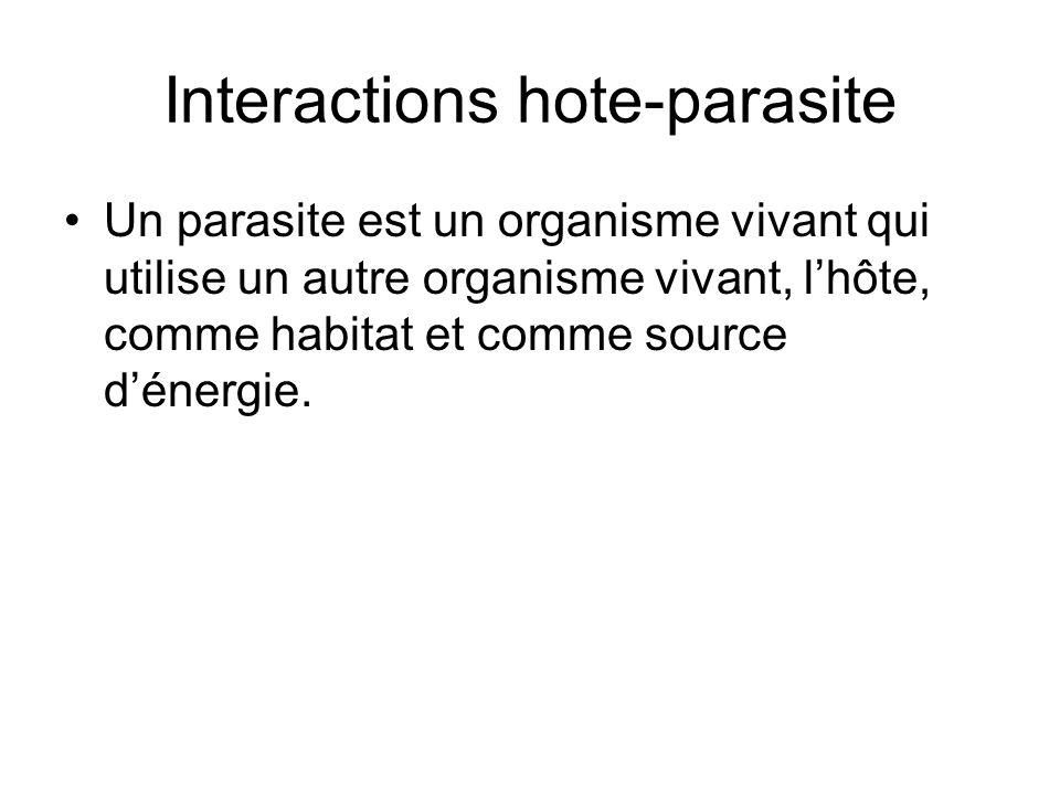 Interactions hote-parasite Un parasite est un organisme vivant qui utilise un autre organisme vivant, l'hôte, comme habitat et comme source d'énergie.