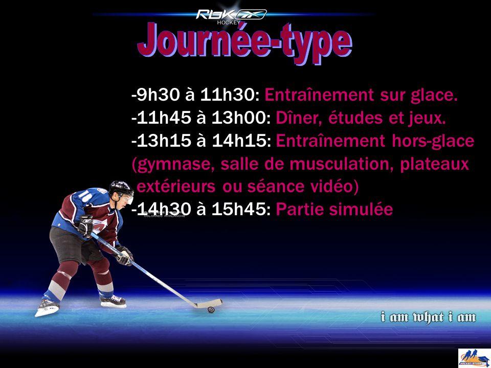 -9h30 à 11h30: Entraînement sur glace. -11h45 à 13h00: Dîner, études et jeux.