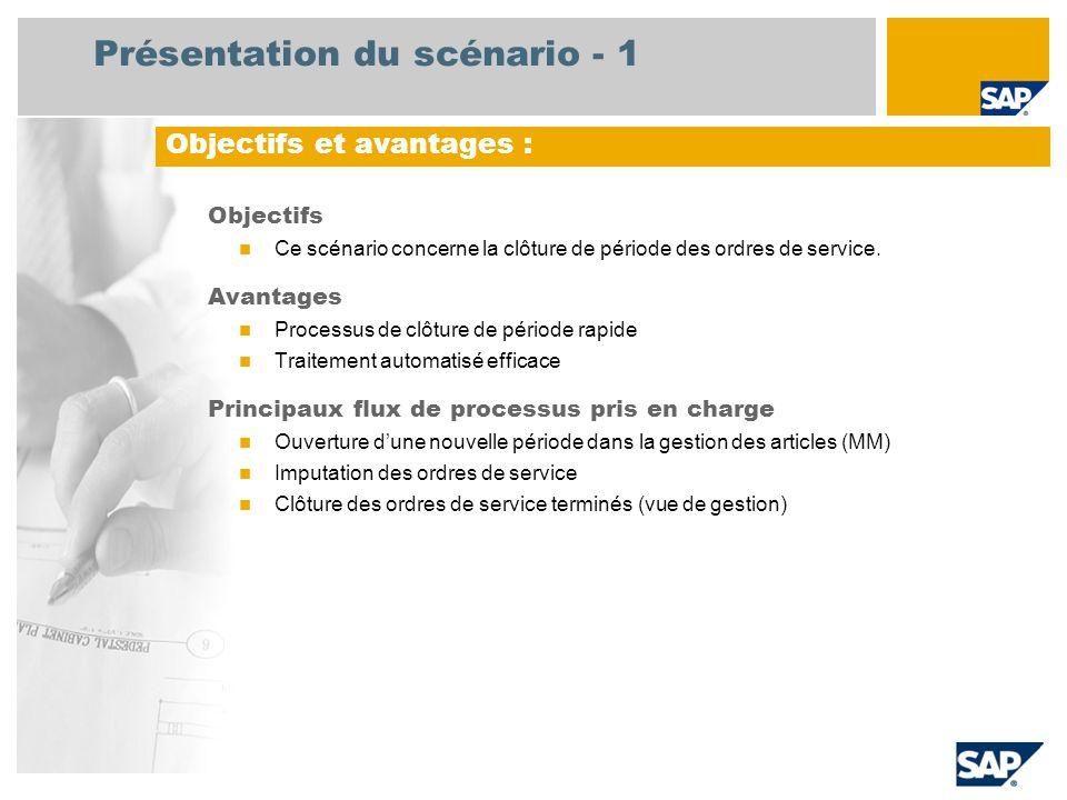 Présentation du scénario - 1 Objectifs Ce scénario concerne la clôture de période des ordres de service. Avantages Processus de clôture de période rap