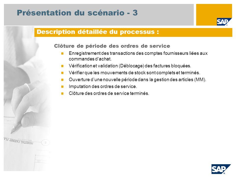 Diagramme de flux de processus Clôture de période des ordres de service Comptable fournisseur Magasinier Événe- ment Contrôleur de gestion Enregistrement des transactions fournisseurs liées aux commandes d'achat Les factures avec commande doivent être comptabilisées avant la fin du mois AP = Paiement anticipé ; MM = Gestion en masse Clôture des ordres de service terminés Ouverture d'une nouvelle période dans la gestion des articles (MM) Vérifier que les mouvements de stock sont terminés et complets– sortie de marchandises Validation des factures bloquées Responsable comptabilité Imputation des ordres de service